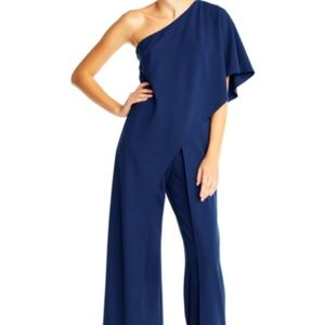 ADRIANNA PAPELL Navy One Shoulder Jumpsuit Pant